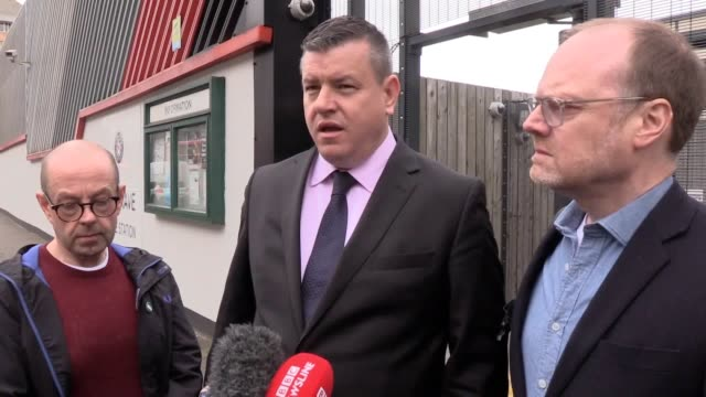 journalists barry mccaffrey and trevor birney as mr birney's solicitor niall murphy makes a statement to media outside musgrave police station in... - michael barry stock videos & royalty-free footage