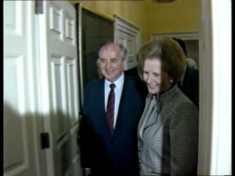 stockvideo's en b-roll-footage met reaction f/back mrs thatcher with soviet president michail gorbachev during recent visit to london - mikhail gorbachev