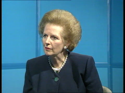 reaction; mrs margaret thatcher mp interview sof - interview raw footage stock videos & royalty-free footage