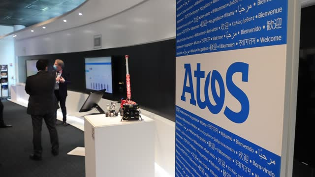 journalists inside a showroom before a press conference at atos technology days 2021 on july 2 in bezons, france. at its annual atos technology days... - big data stock videos & royalty-free footage