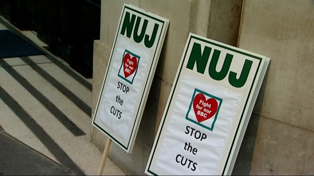 BBC journalists on strike at Broadcasting House ENGLAND London New Broadcasting House entrance / Staff with 'NUJ Stop the Cuts' 'Strike' placards /...