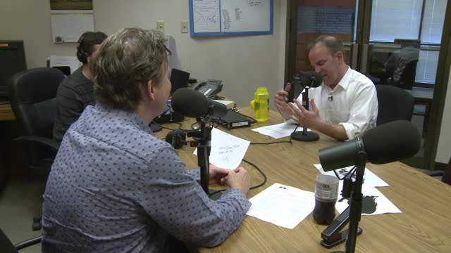 MS Journalists talking at radio station, San Francisco, California, USA / AUDIO