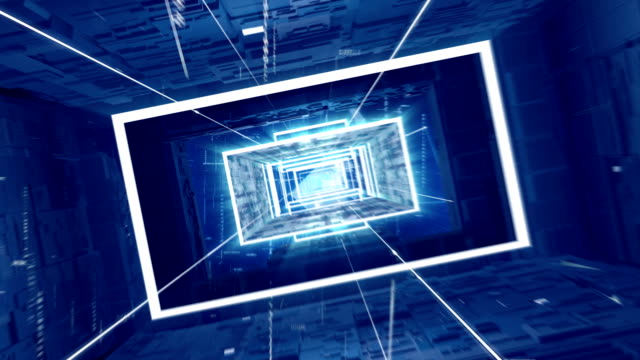 journey through blue digital tunnel. loopable - rectangle stock videos & royalty-free footage