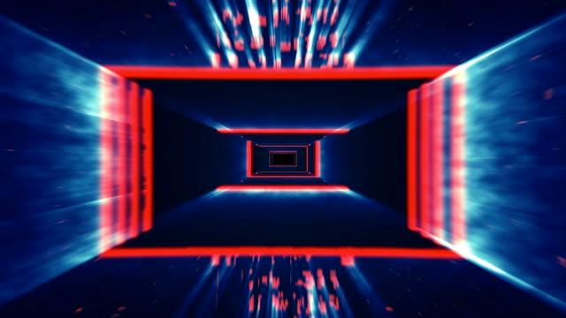 赤と青のデジタル トンネルの旅。単発 - 点火する点の映像素材/bロール