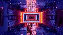 Journey through ultraviolet digital tunnel. Loopable