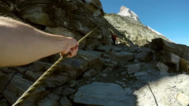 journey to matterhorn snow capped mountain, swiss alps, switzerland - hoch position stock-videos und b-roll-filmmaterial