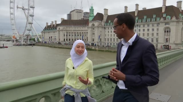 maya's story; london, uk; maya ghazal interview. england: london: westminster: ext various of maya ghazal and hashi mohamed across westminster bridge... - mayan stock videos & royalty-free footage