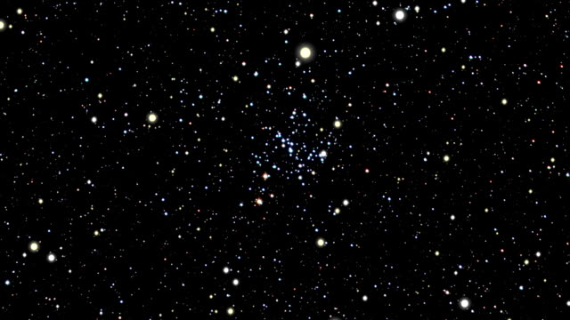 journey to the m93, open star cluster - stern weltall stock-videos und b-roll-filmmaterial