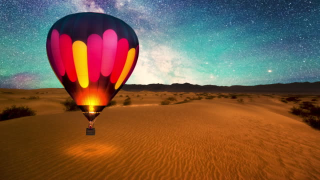 journey under the stars video - hot air balloon stock videos & royalty-free footage