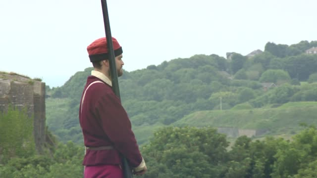 kent dover castle general views of knights jousting in field - jousting stock videos and b-roll footage