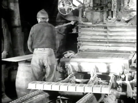 jova brickyard in newburgh new york w/ men moving hudson valley red clay in open barrels on track bricks being sorted crane moving large stack of... - hudson valley stock videos and b-roll footage