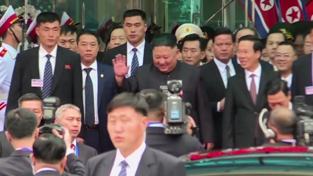 a jovial north korean leader kim jong un grinned and waved as he walked the red carpet from a vietnamese rail station on tuesday after a marathon... - red carpet smile stock videos and b-roll footage