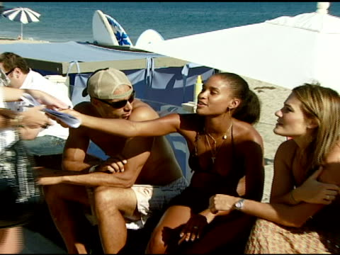 joy bryant at the bra boys bbq presented by anheuserbusch at polaroid beach house in malibu california on august 19 2007 - anheuser busch inbev stock videos and b-roll footage