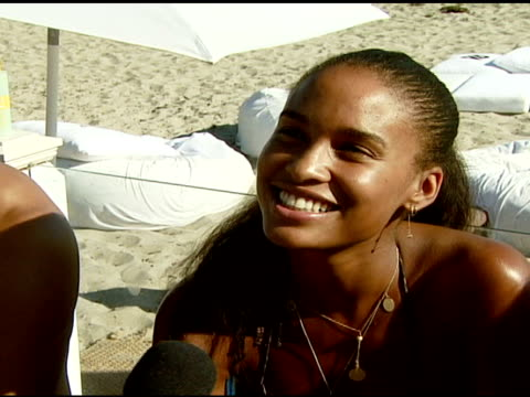 joy bryant discusses the bra boys surfing and the polaroid beach house at the bra boys bbq presented by anheuserbusch at polaroid beach house in... - anheuser busch inbev stock videos and b-roll footage