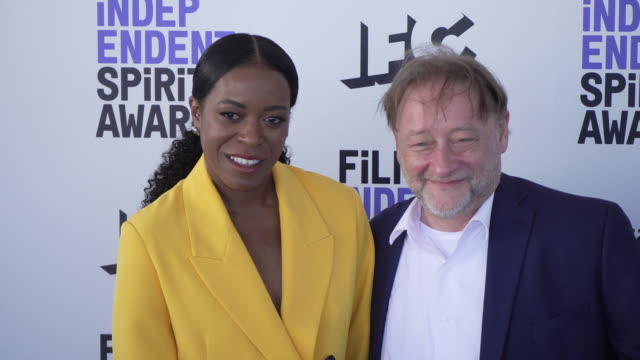 joy ganes and darren dean at the 2020 film independent spirit awards on february 08 2020 in santa monica california - film independent spirit awards stock videos & royalty-free footage