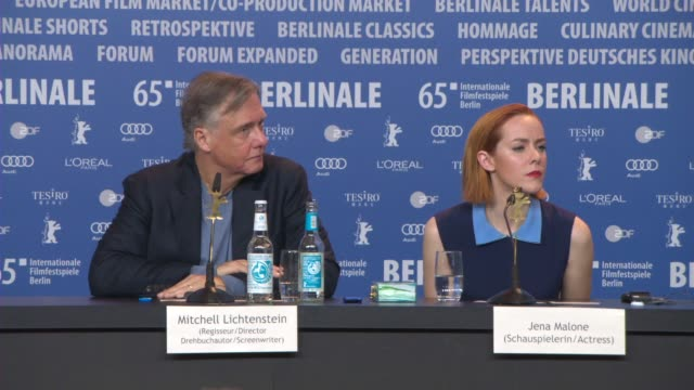 vídeos de stock, filmes e b-roll de broll joyce pierpoline luciana arrighi rita ryack janet mcteer mitchell lichtenstein jena malone at 'angelica' press conference 65th berlin film... - janet mcteer