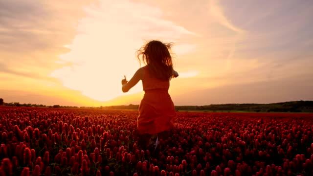 slo mo joyful girl jumping among flowers at sunset - sundress stock videos & royalty-free footage