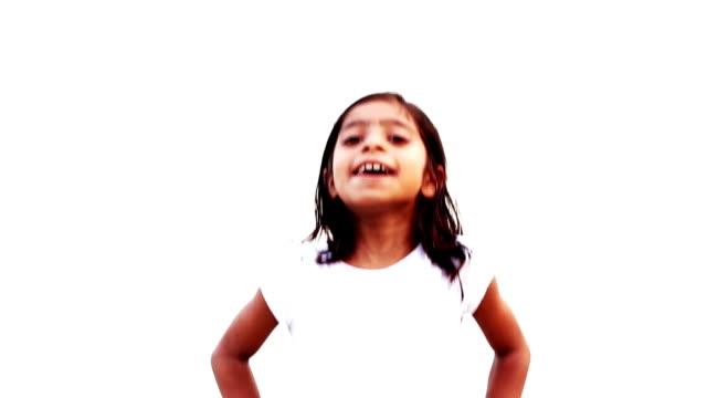 Joyful girl jumping
