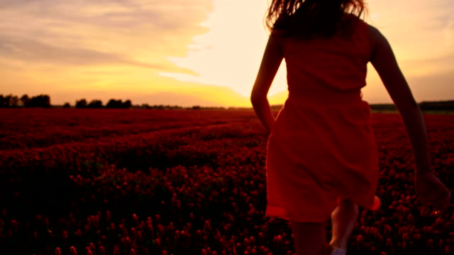 slo mo joyful girl running among flowers at sunset - skipping along stock videos & royalty-free footage