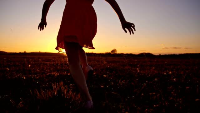 slo mo 楽しいガールのランニングで、夕暮れ時の草原 - 少女点の映像素材/bロール