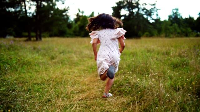 joyful girl running on the meadow - dress stock videos & royalty-free footage