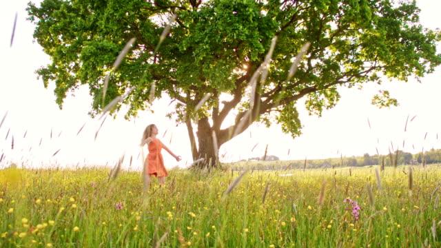 vidéos et rushes de slo missouri joyeuse fille twirling dans les meadow - robe d'été