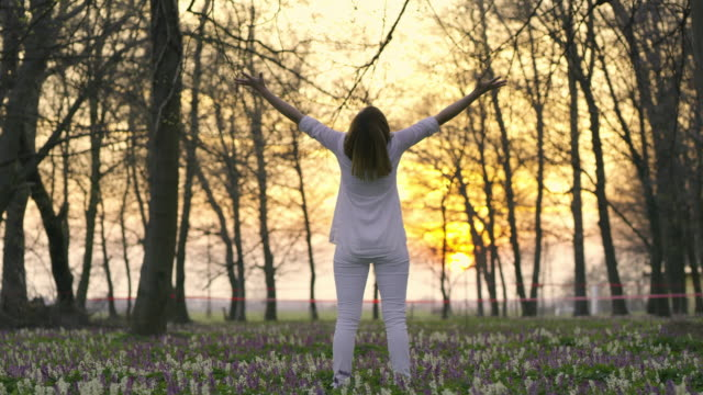 DS Joyful woman enjoying the nature with arms outstretched