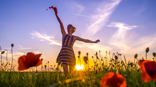 SLO MO Joyful Woman In The Meadow