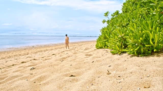 vídeos de stock, filmes e b-roll de ws ds alegre mulher tocando na praia tropical beach - raw footage