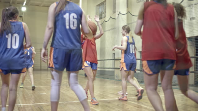 Joyous female basketball athletes giving each other high-fives after winning match