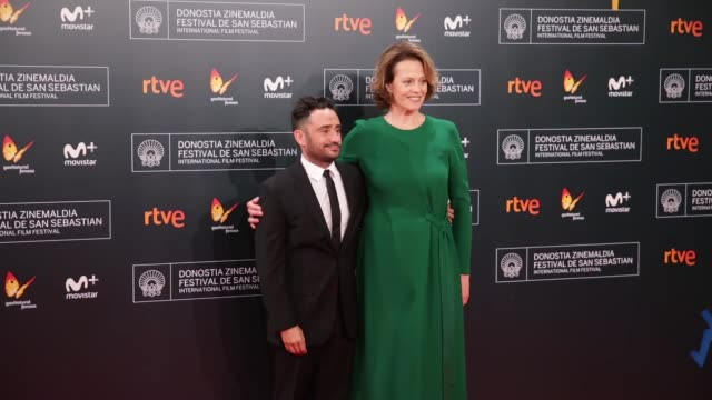 Juan Antonio Bayona and Actress Sigourney Weaver attends 'A Monster Calls' Premiere during the 64th San Sebastian International Film Festival at the...