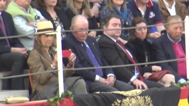 Juan Carlos I of Spain and Infant Elena attends the Bullfight in Illescas Toledo