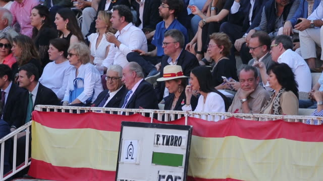 Juan Carlos I of Spain Infant Elena and Victoria Federica Attend The Bullfight at Las Ventas in Madrid
