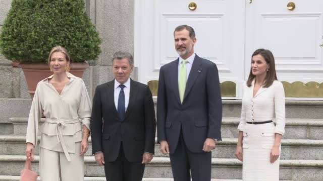juan manuel santos president of colombia pays a visit to king felipe and queen letizia - queen letizia of spain stock videos and b-roll footage