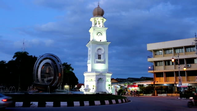 jubilee clock tower georgtown penang malaysia - penang stock videos and b-roll footage