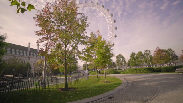 jubilee gardens and london eye observation wheel. - walking point of view stock videos and b-roll footage