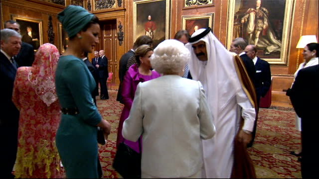 queen greeting guests general views of queen prince william duke of cambridge catherine duchess of cambridge and other members of royal family... - lunch stock videos & royalty-free footage