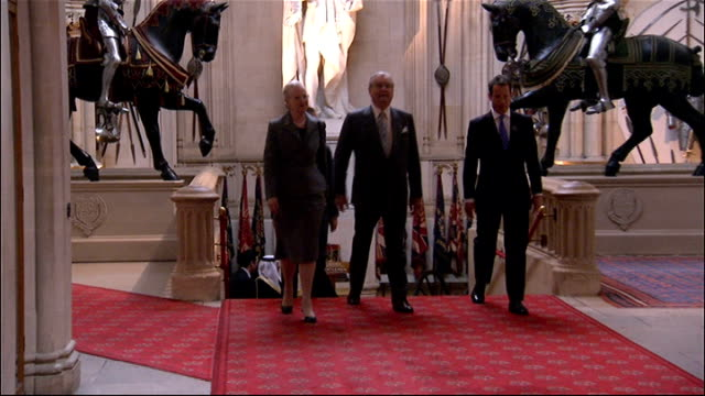 queen greeting guests king carl xvi gustaf of sweden and queen silvia of sweden / king letsie iii of lesotho and queen mesenate mohato seeiso / queen... - emperor akihito stock videos and b-roll footage