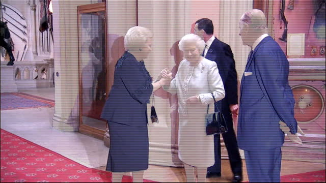 Queen greeting guests King Michael I of Romania and Crown Princess Margarita of Romania / Queen Beatrix of Netherlands / Crown Prince Alexander II of...