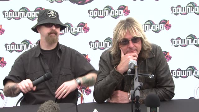 judas priest on being back on tour after 2 years. at the download festival at derbyshire . - ポピュラーミュージックツアー点の映像素材/bロール