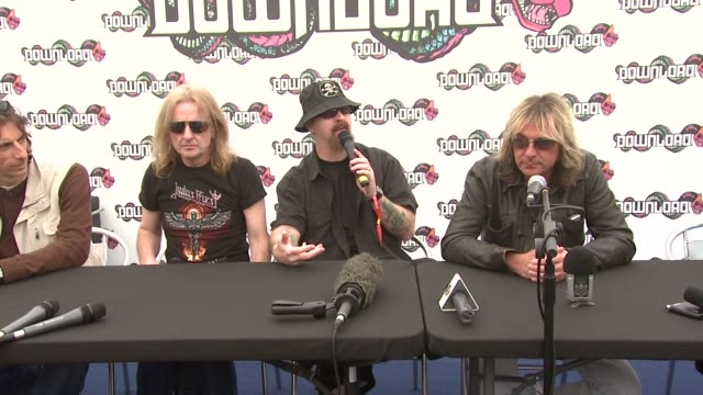 stockvideo's en b-roll-footage met judas priest on the motivation that keeps them going at the download festival at derbyshire . - judas