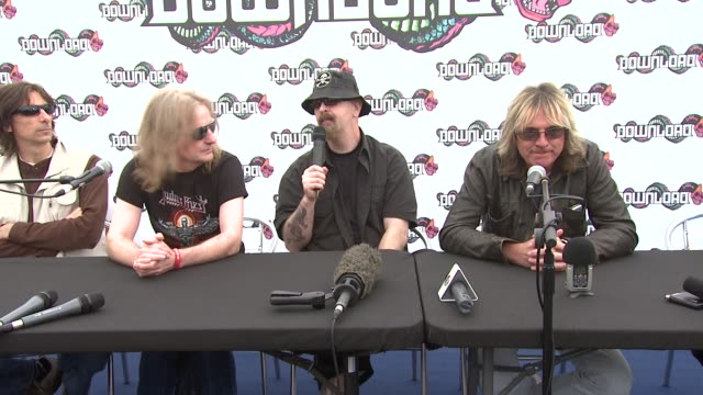stockvideo's en b-roll-footage met judas priest talks about 28 years ago when they first played donnington they couldn't have predicted they would be going for so long. at the download... - judas