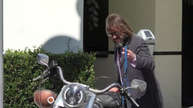 judd nelson hops on his motorcycle after shopping in beverly hills in celebrity sightings in los angeles, - judd nelson stock videos & royalty-free footage