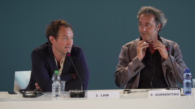 jude law on his small swimming trunks at the new pope - press conference - 76th venice film festival on september 01, 2019 in venice, italy. - swimming trunks stock videos & royalty-free footage