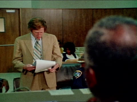 1971 montage judge and lawyer talking / los angeles, california / audio - 1971 stock-videos und b-roll-filmmaterial