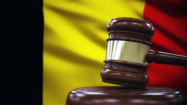 judge gavel with belgium flag background - legal system stock videos & royalty-free footage