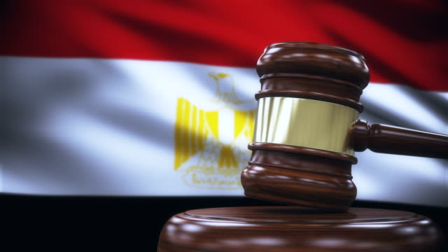 judge gavel with egypt flag background - egypt stock videos & royalty-free footage