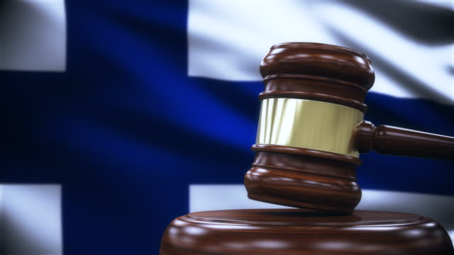 judge gavel with finland flag background - gavel stock videos & royalty-free footage