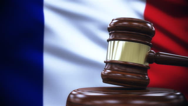 Judge Gavel with France Flag Background