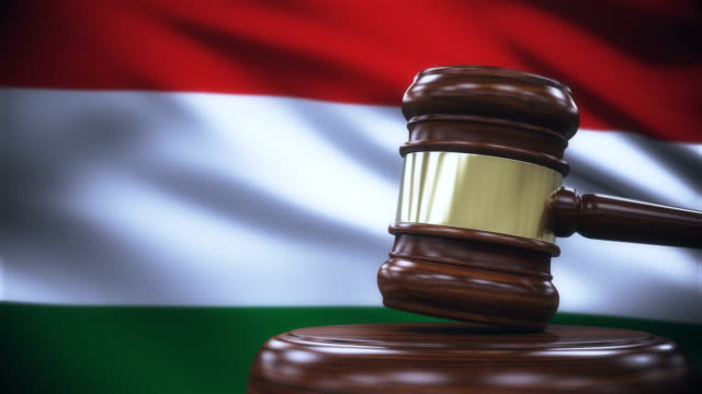 Judge Gavel with Hungary Flag Background